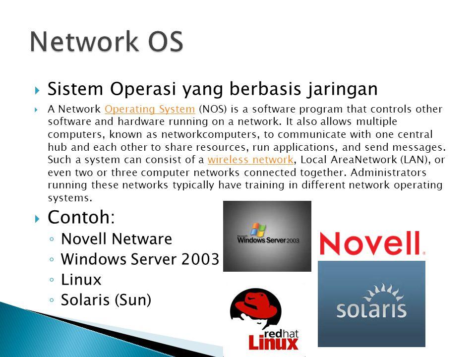 Network OS Sistem Operasi yang berbasis jaringan Contoh: