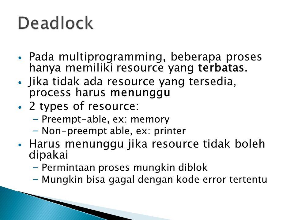 Deadlock Pada multiprogramming, beberapa proses hanya memiliki resource yang terbatas.