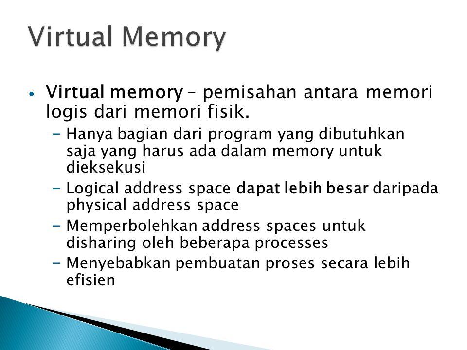 Virtual Memory Virtual memory – pemisahan antara memori logis dari memori fisik.