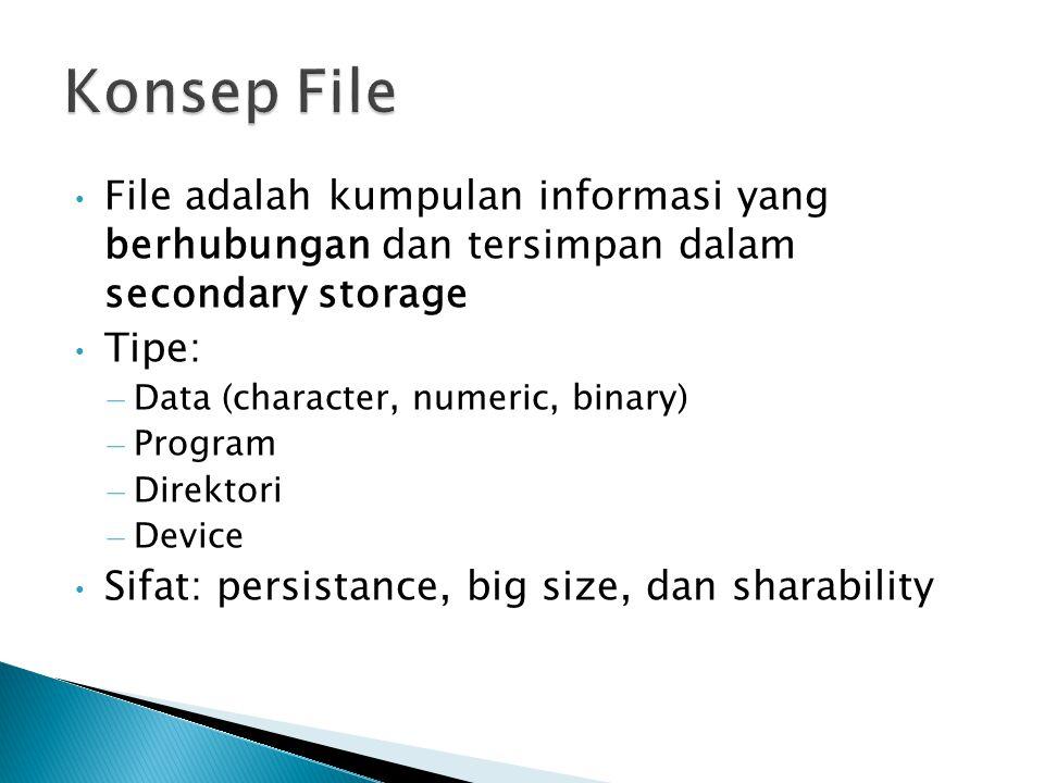 Konsep File File adalah kumpulan informasi yang berhubungan dan tersimpan dalam secondary storage.