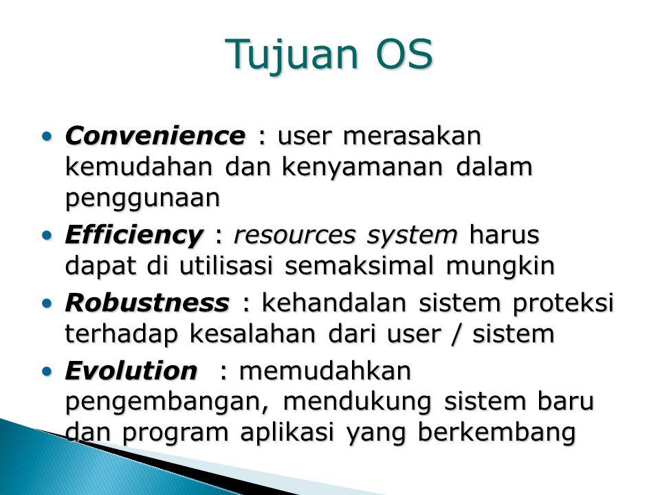 Tujuan OS Convenience : user merasakan kemudahan dan kenyamanan dalam penggunaan.
