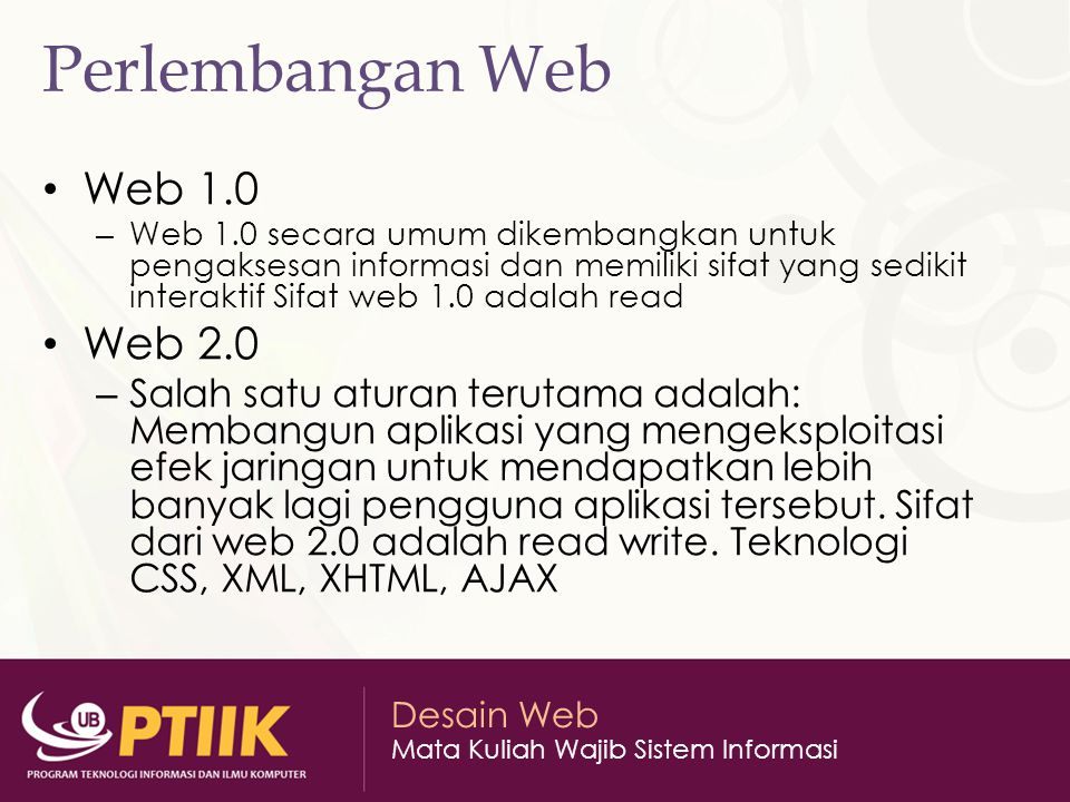 Perlembangan Web Web 1.0 Web 2.0