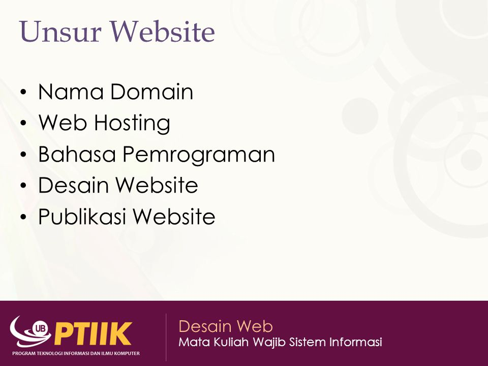 Unsur Website Nama Domain Web Hosting Bahasa Pemrograman