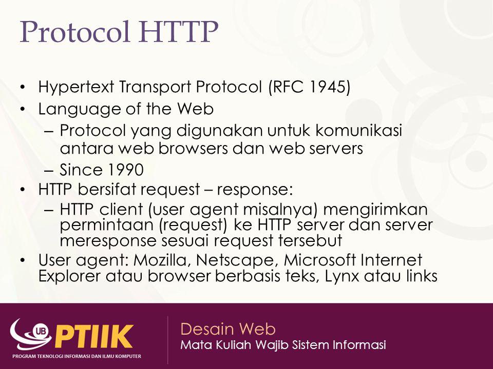 Protocol HTTP Hypertext Transport Protocol (RFC 1945)