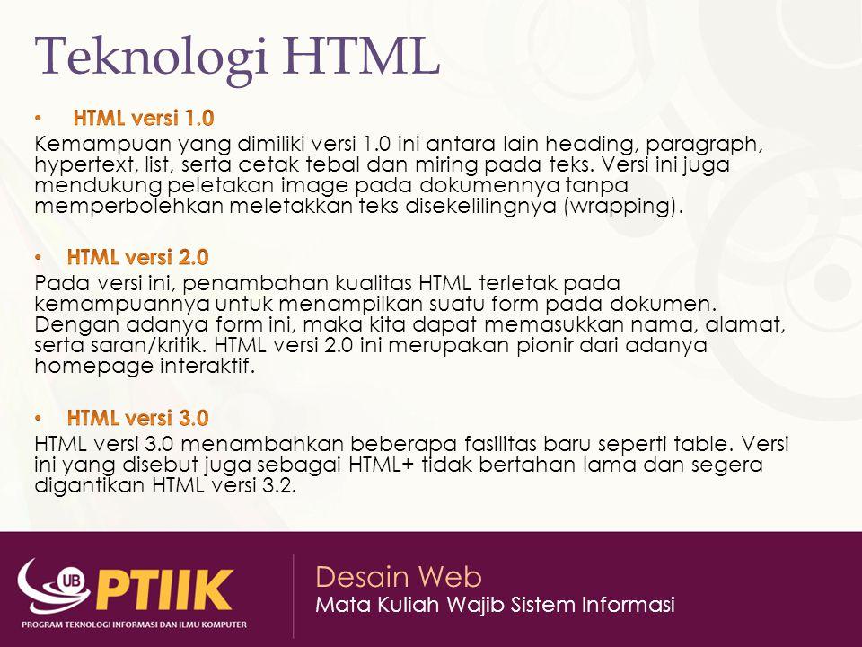 Teknologi HTML HTML versi 1.0