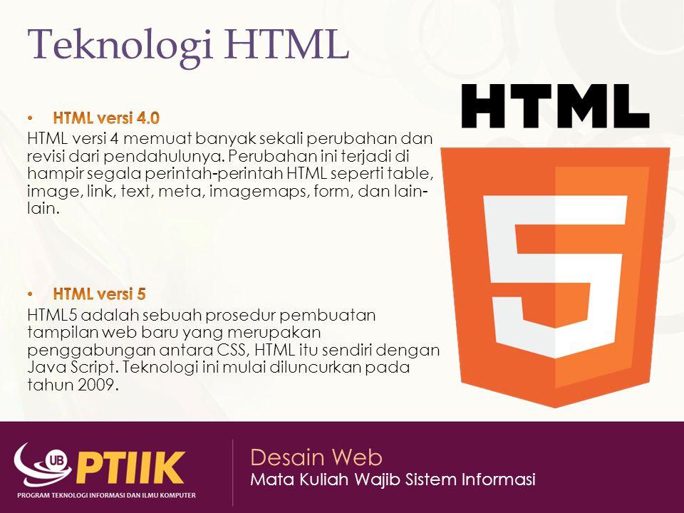 Teknologi HTML HTML versi 4.0