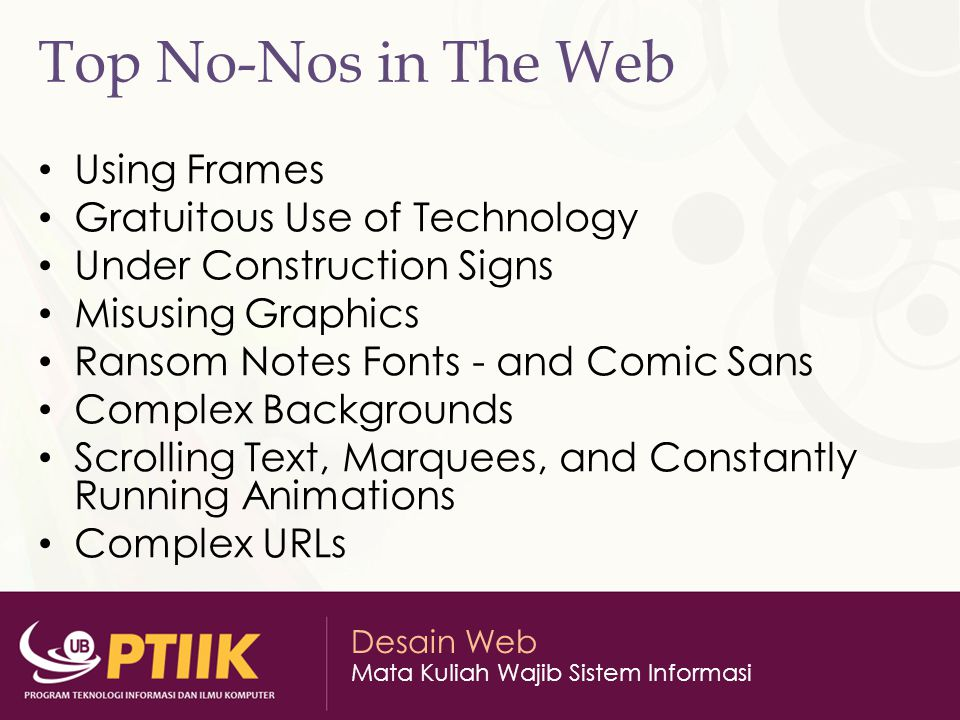 Top No-Nos in The Web Using Frames Gratuitous Use of Technology