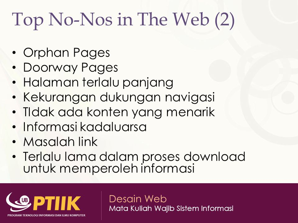 Top No-Nos in The Web (2) Orphan Pages Doorway Pages