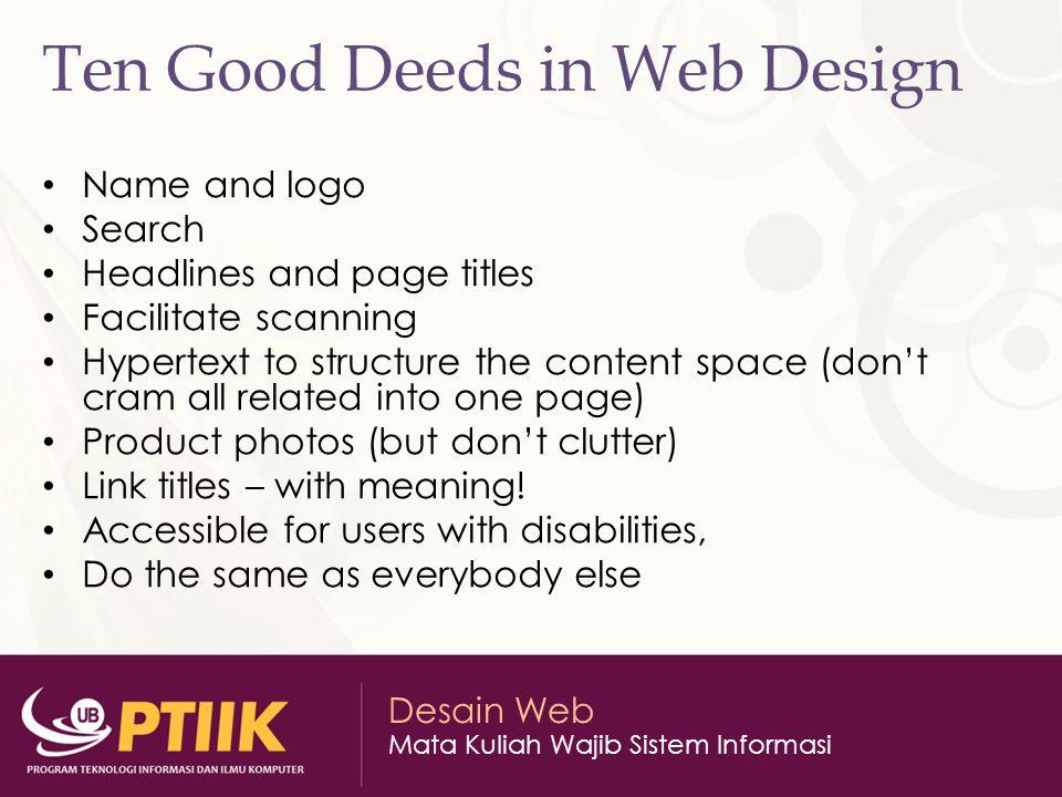 Ten Good Deeds in Web Design