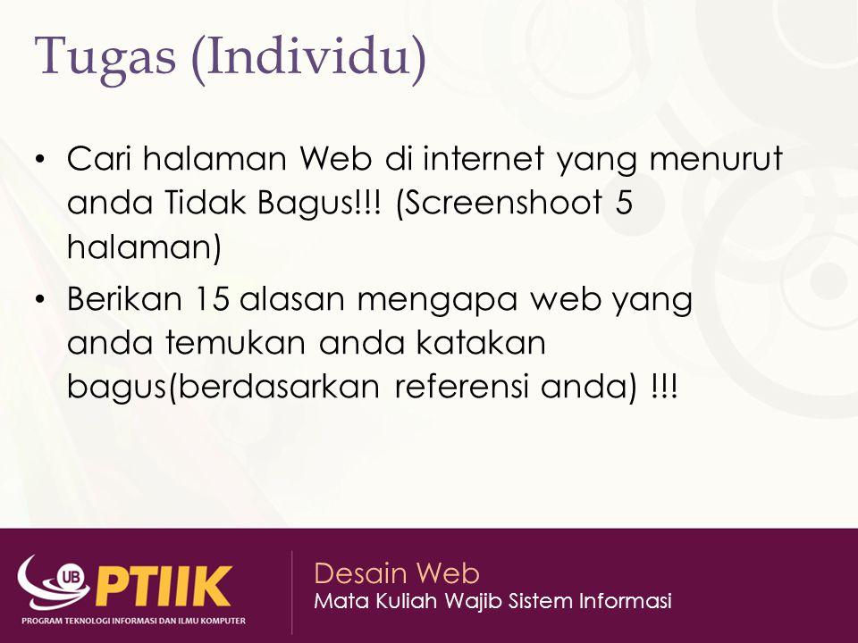 Tugas (Individu) Cari halaman Web di internet yang menurut anda Tidak Bagus!!! (Screenshoot 5 halaman)