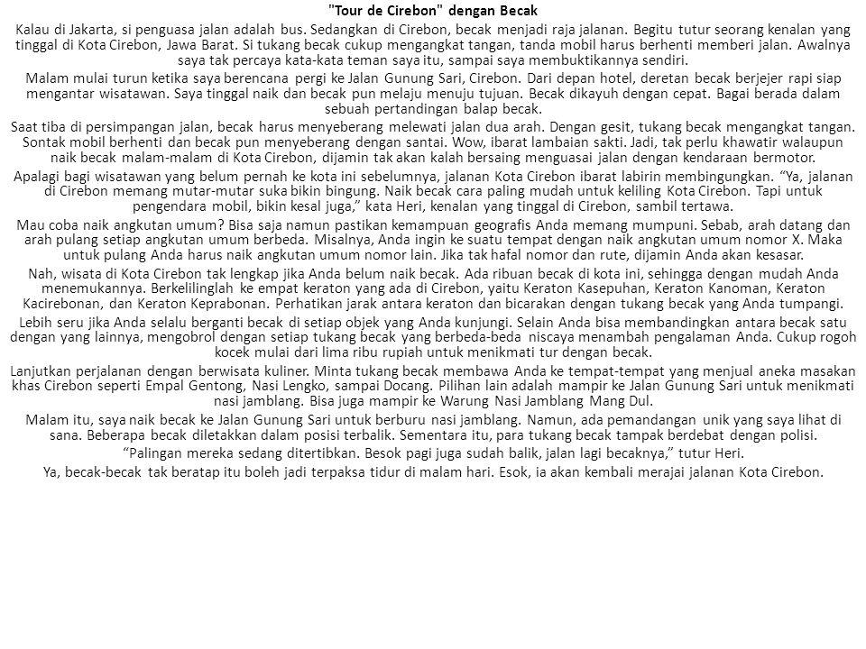 Tour de Cirebon dengan Becak