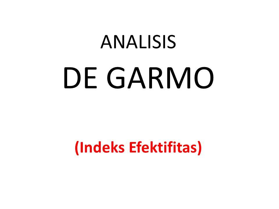 ANALISIS DE GARMO (Indeks Efektifitas)