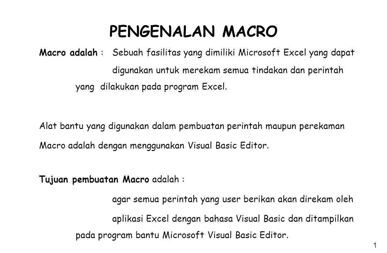 PENGENALAN MACRO Macro adalah : Sebuah fasilitas yang dimiliki Microsoft Excel yang dapat.