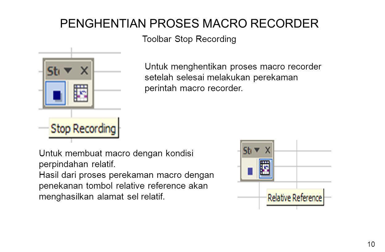 PENGHENTIAN PROSES MACRO RECORDER