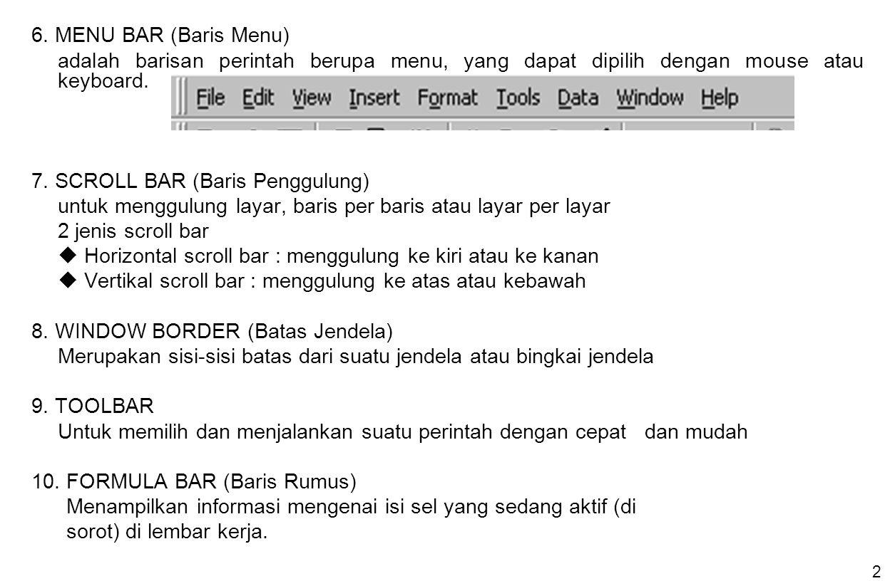 6. MENU BAR (Baris Menu) adalah barisan perintah berupa menu, yang dapat dipilih dengan mouse atau keyboard.