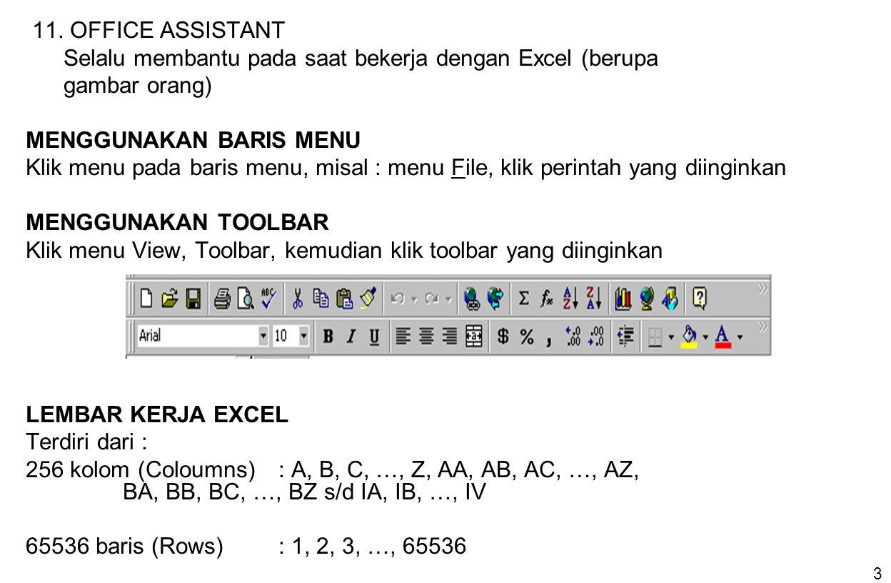 11. OFFICE ASSISTANT Selalu membantu pada saat bekerja dengan Excel (berupa. gambar orang) MENGGUNAKAN BARIS MENU.