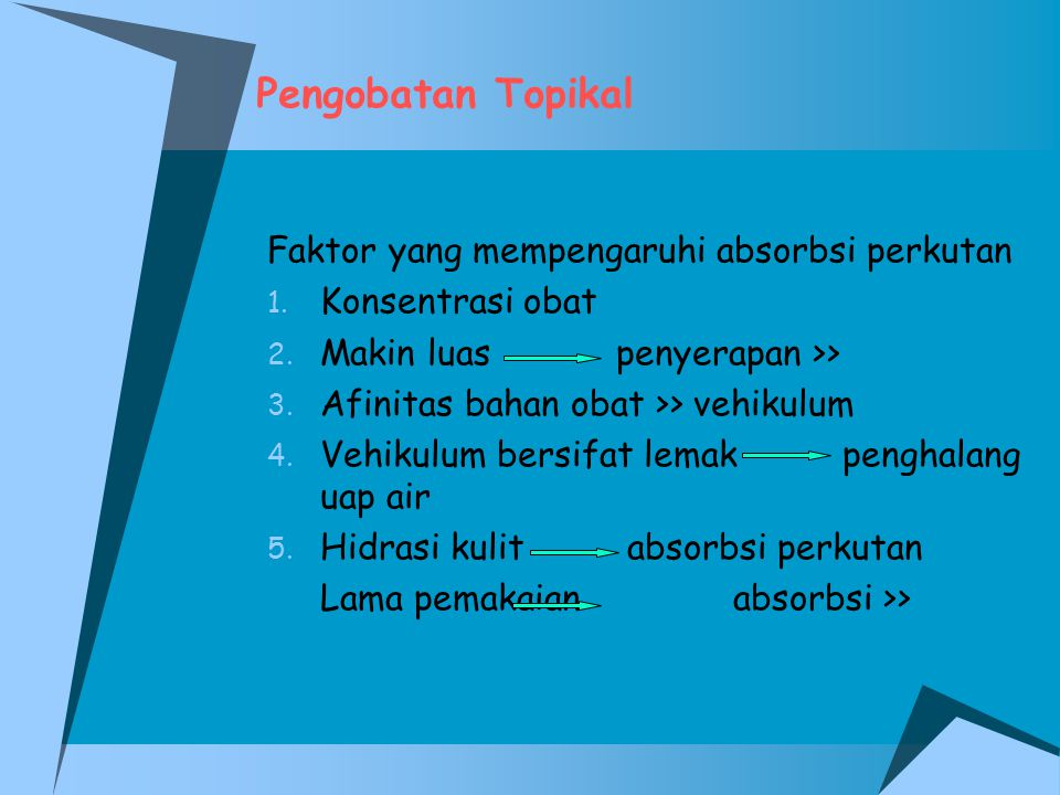 Pengobatan Topikal Faktor yang mempengaruhi absorbsi perkutan