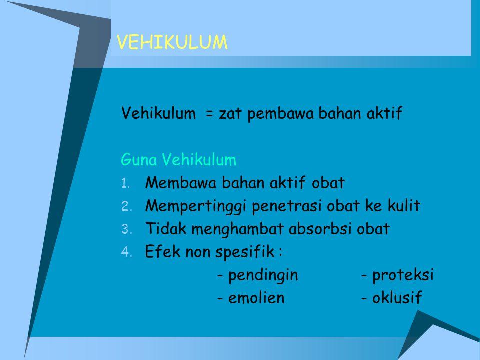 VEHIKULUM Vehikulum = zat pembawa bahan aktif Guna Vehikulum