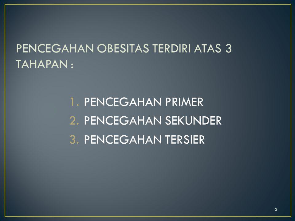 PENCEGAHAN OBESITAS TERDIRI ATAS 3 TAHAPAN :