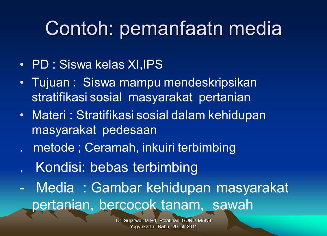 Contoh: pemanfaatn media