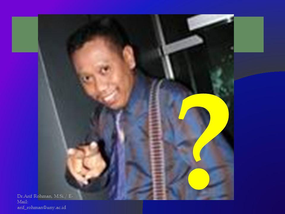 MANUSIA IDEAL … Dr.Arif Rohman, M.Si./ E-Mail: arif_rohman@uny.ac.id