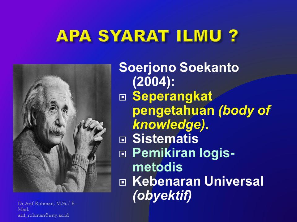 APA SYARAT ILMU Soerjono Soekanto (2004):