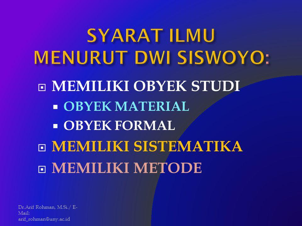 SYARAT ILMU MENURUT DWI SISWOYO: