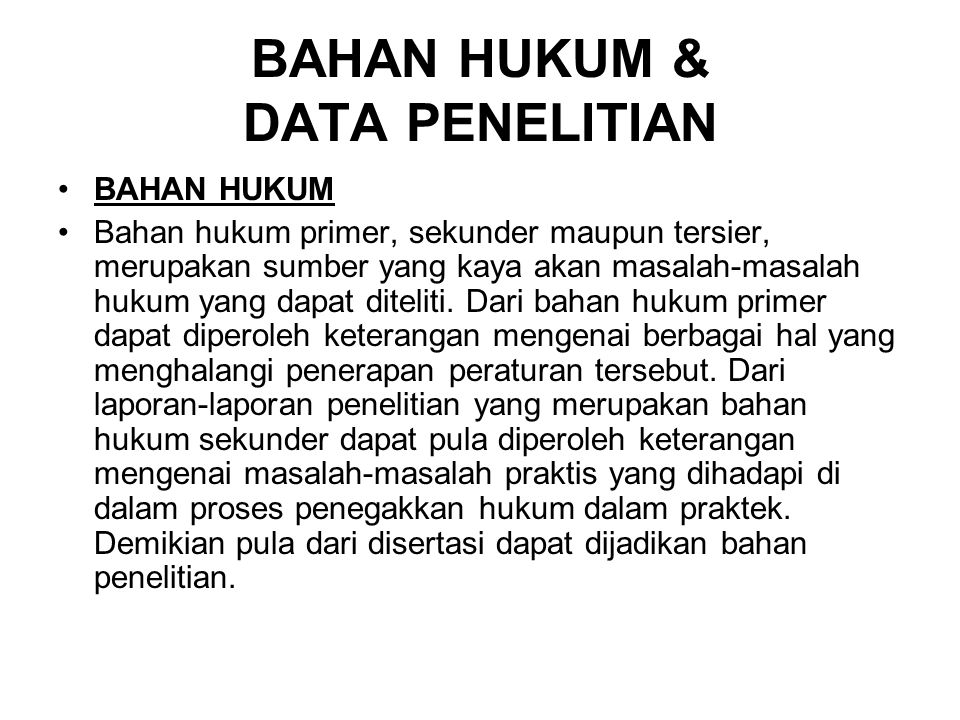 BAHAN HUKUM & DATA PENELITIAN