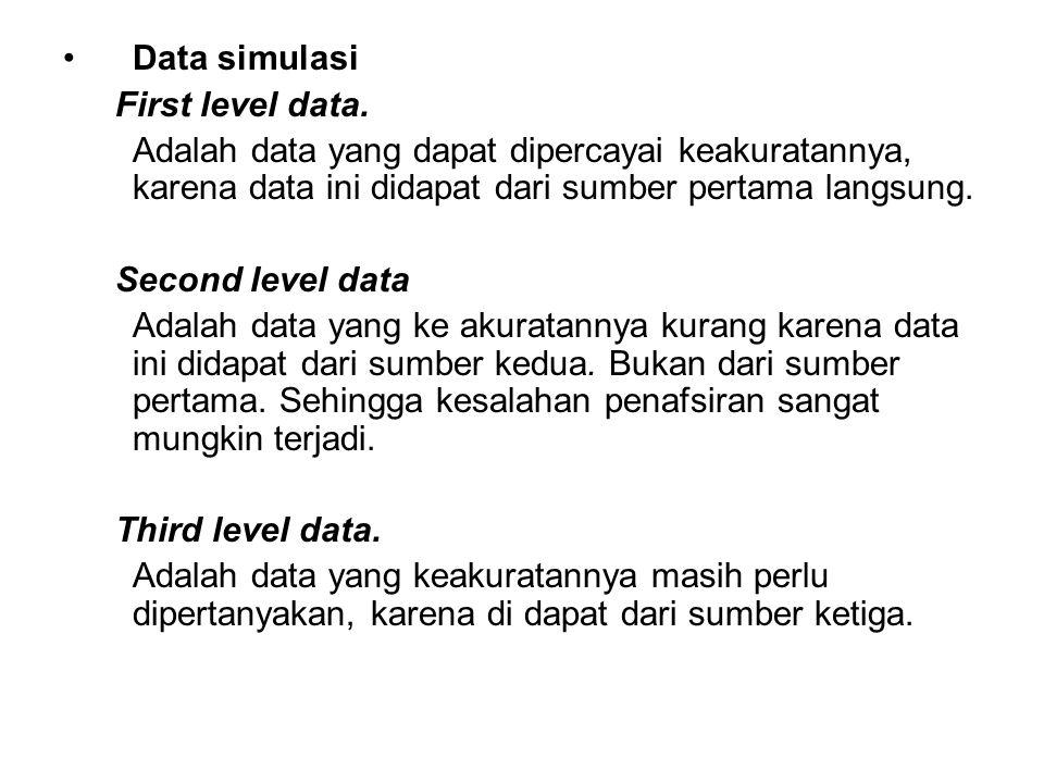 Data simulasi First level data. Adalah data yang dapat dipercayai keakuratannya, karena data ini didapat dari sumber pertama langsung.
