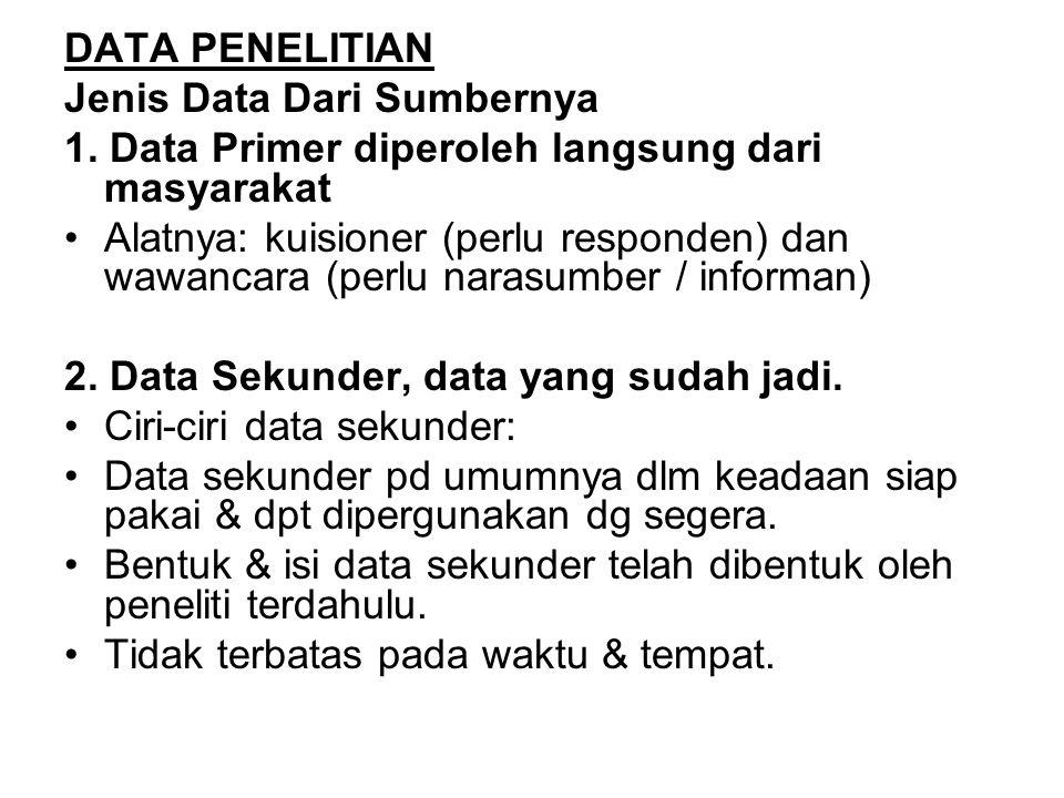 DATA PENELITIAN Jenis Data Dari Sumbernya. 1. Data Primer diperoleh langsung dari masyarakat.