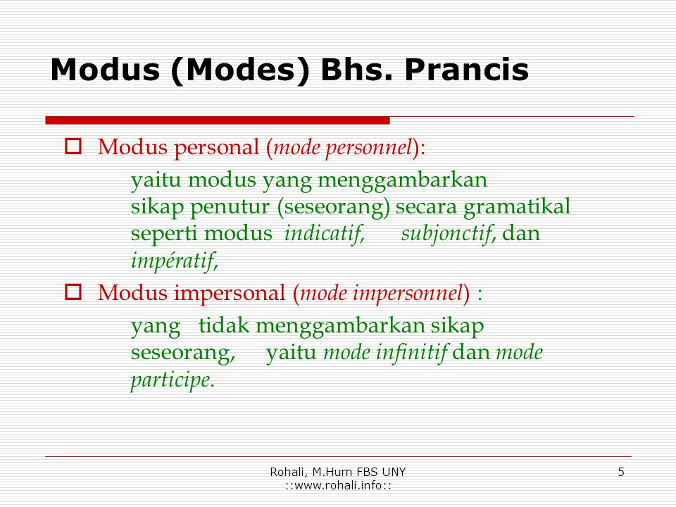 Modus (Modes) Bhs. Prancis