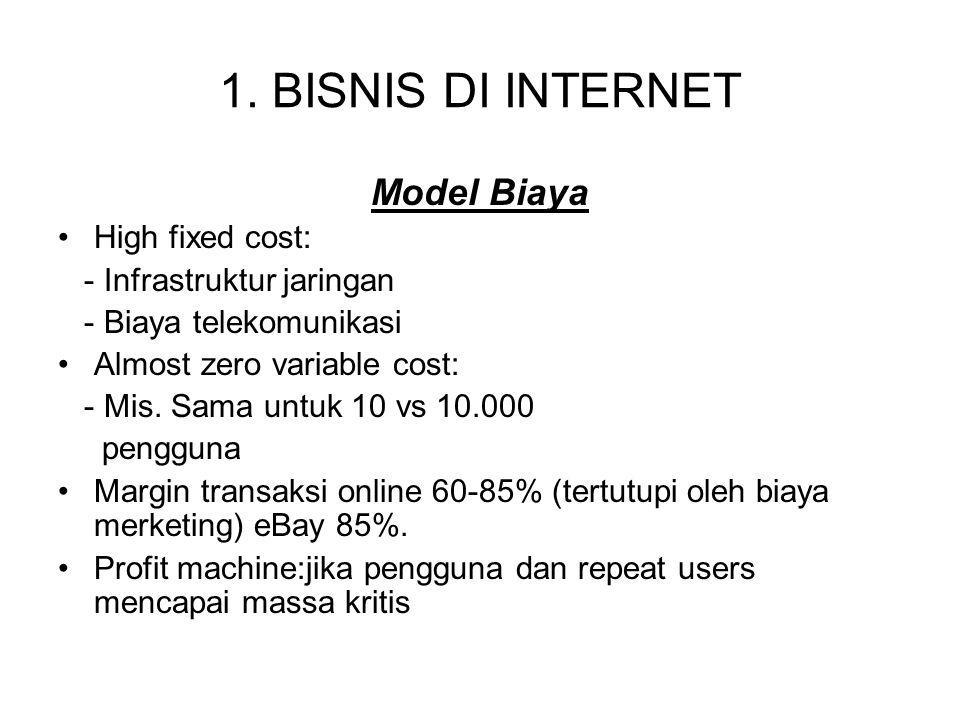 1. BISNIS DI INTERNET Model Biaya High fixed cost: