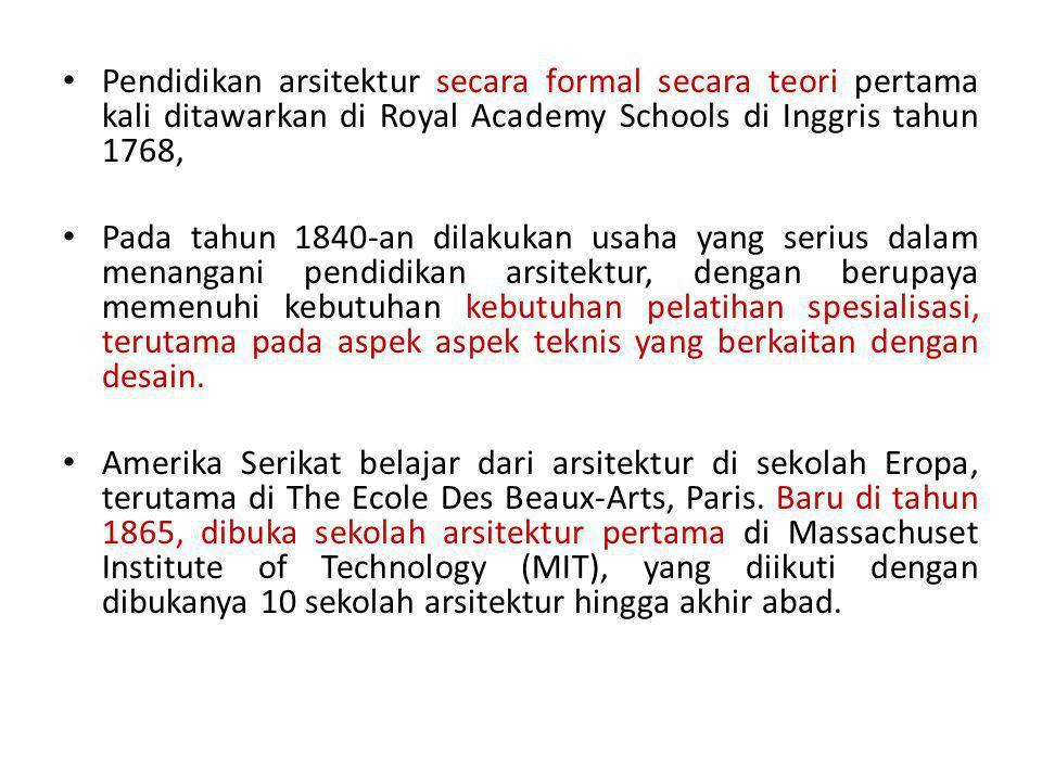 Pendidikan arsitektur secara formal secara teori pertama kali ditawarkan di Royal Academy Schools di Inggris tahun 1768,