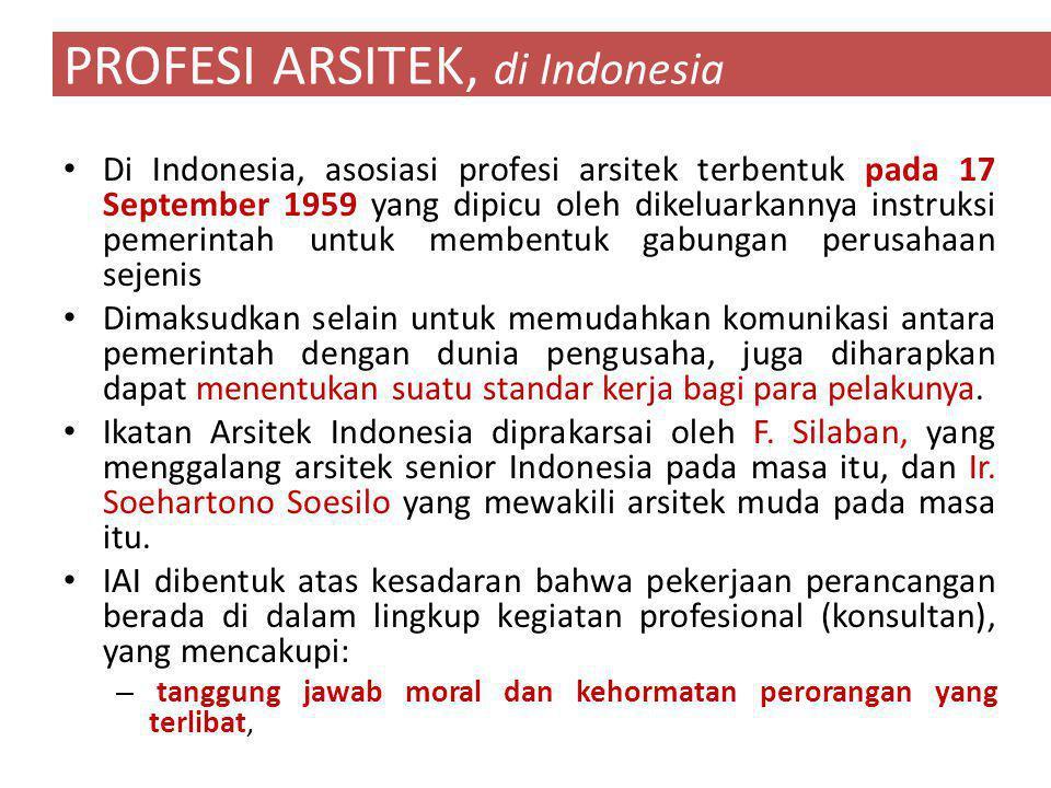 PROFESI ARSITEK, di Indonesia