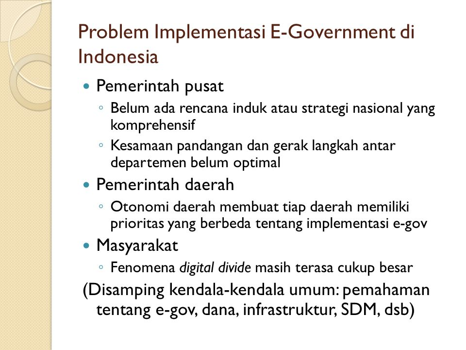 Problem Implementasi E-Government di Indonesia