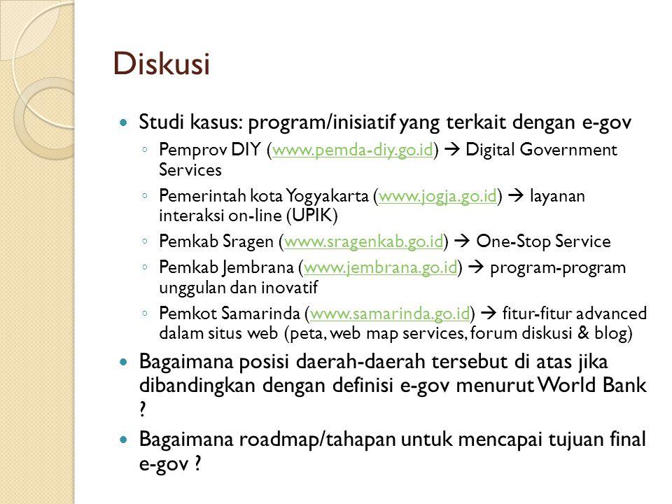 Diskusi Studi kasus: program/inisiatif yang terkait dengan e-gov