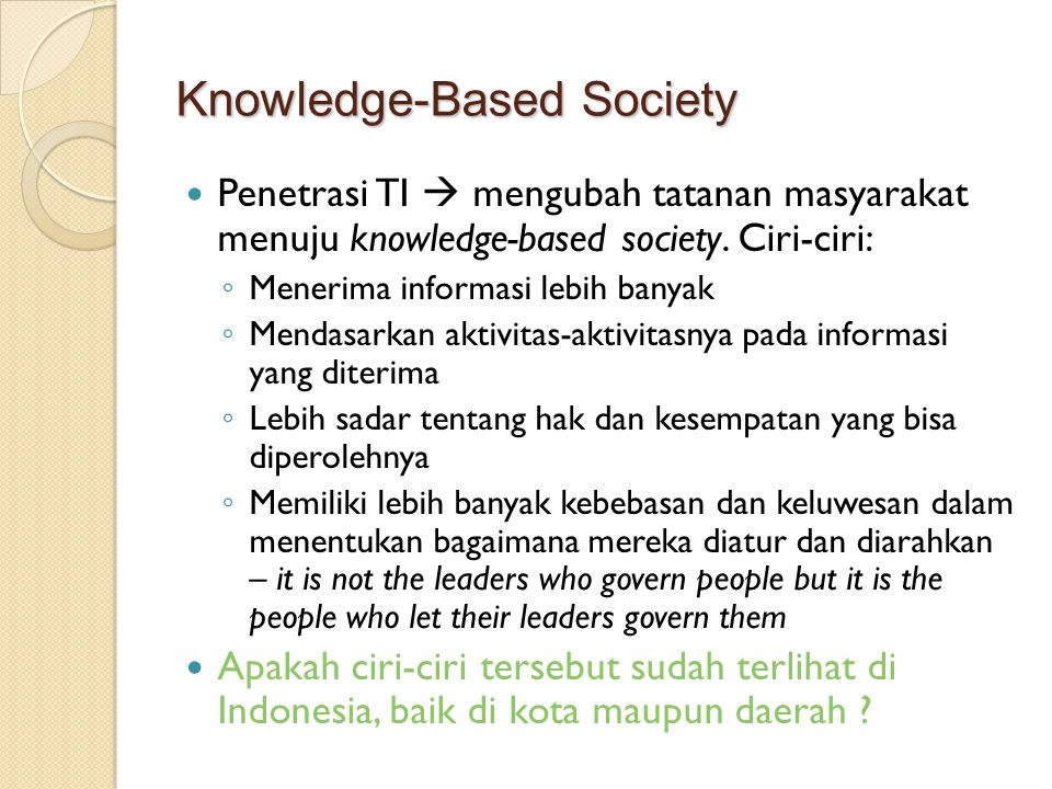 Knowledge-Based Society
