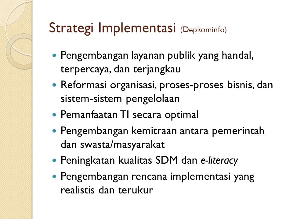 Strategi Implementasi (Depkominfo)