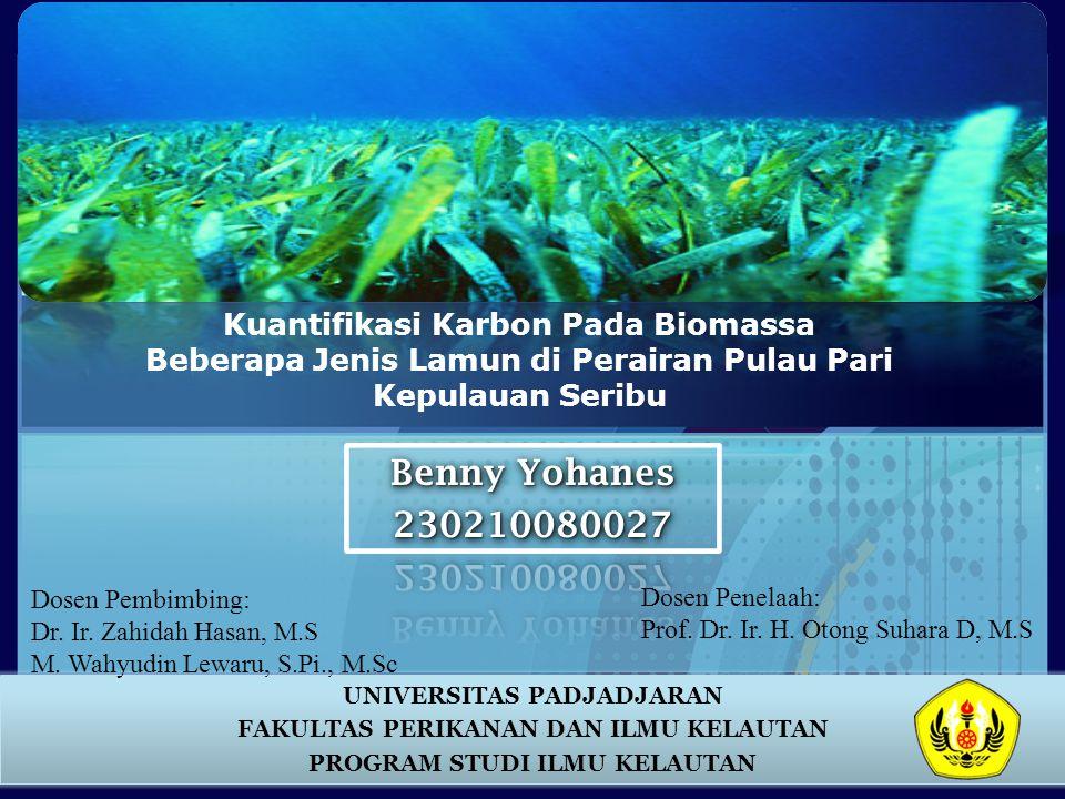 Kuantifikasi Karbon Pada Biomassa Beberapa Jenis Lamun di Perairan Pulau Pari Kepulauan Seribu