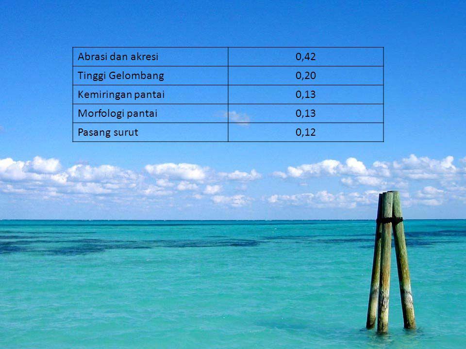 Abrasi dan akresi 0,42. Tinggi Gelombang. 0,20. Kemiringan pantai. 0,13. Morfologi pantai. Pasang surut.
