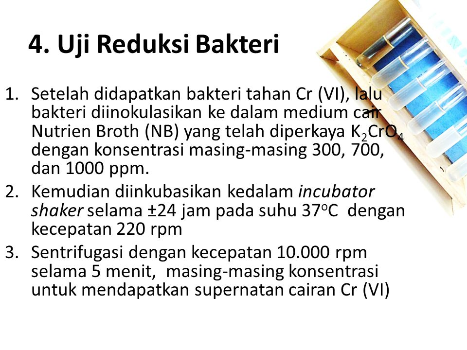 4. Uji Reduksi Bakteri