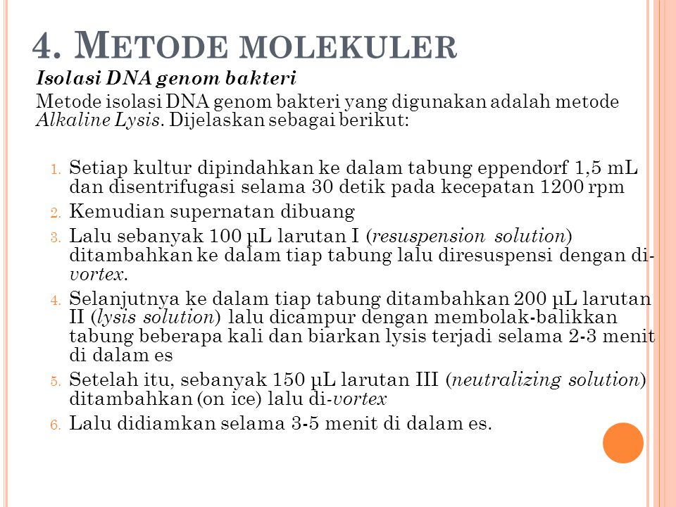 4. Metode molekuler Isolasi DNA genom bakteri.