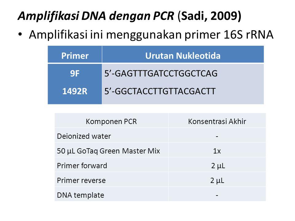 Amplifikasi DNA dengan PCR (Sadi, 2009)