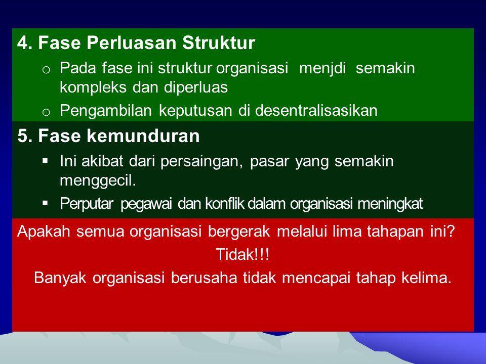 Banyak organisasi berusaha tidak mencapai tahap kelima.