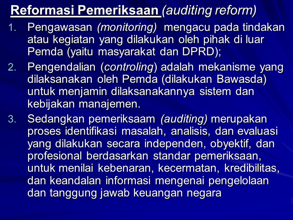 Reformasi Pemeriksaan (auditing reform)