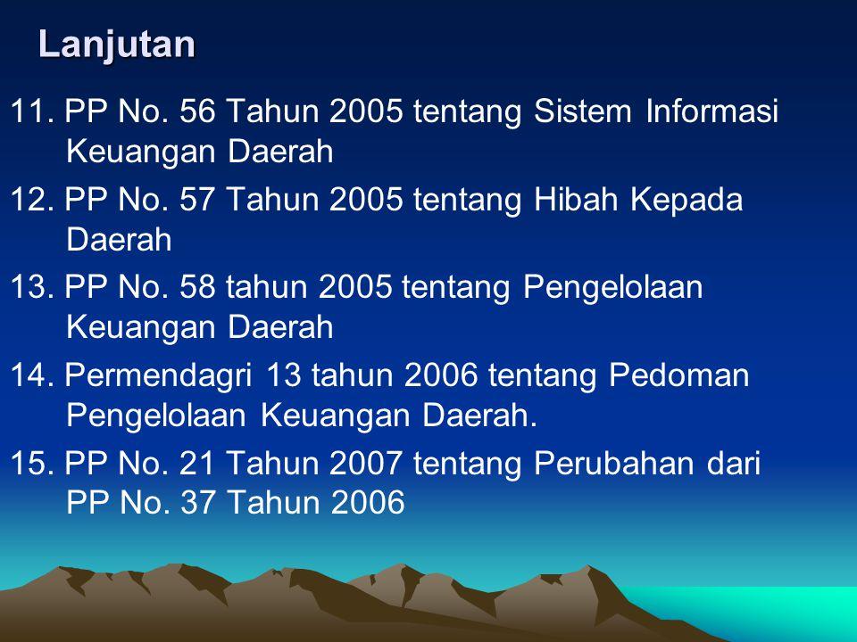 Lanjutan 11. PP No. 56 Tahun 2005 tentang Sistem Informasi Keuangan Daerah. 12. PP No. 57 Tahun 2005 tentang Hibah Kepada Daerah.