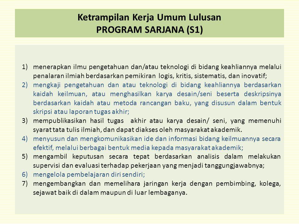 Ketrampilan Kerja Umum Lulusan PROGRAM SARJANA (S1)