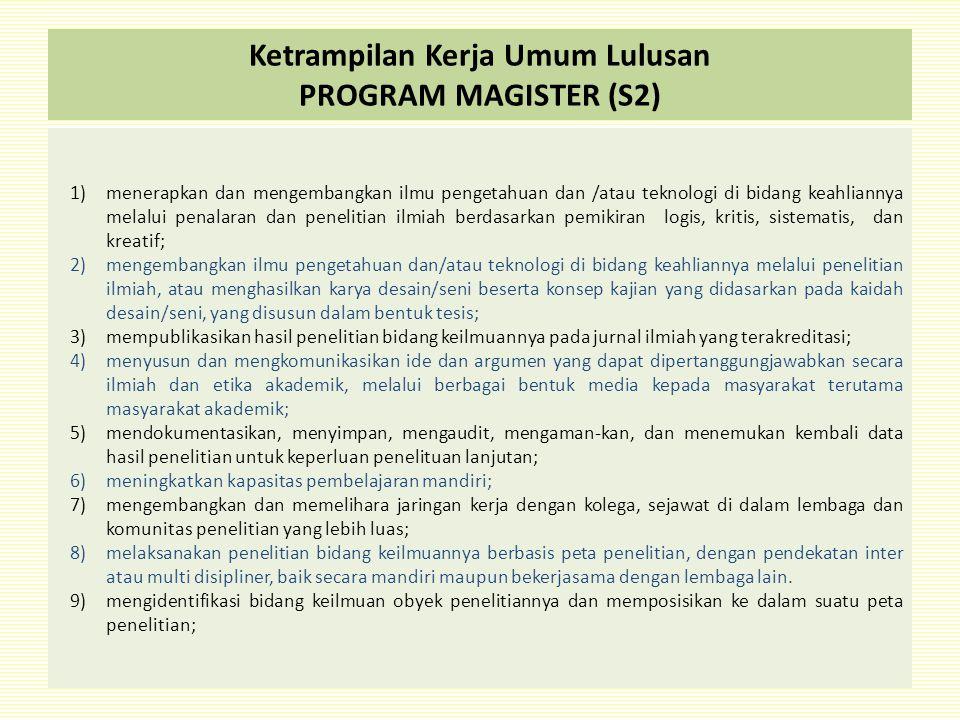 Ketrampilan Kerja Umum Lulusan PROGRAM MAGISTER (S2)