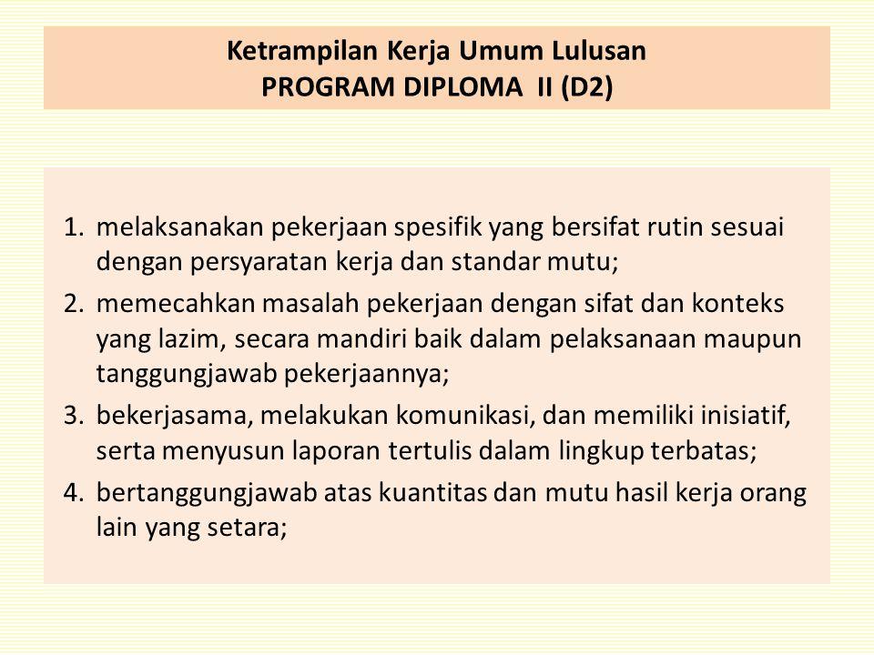 Ketrampilan Kerja Umum Lulusan PROGRAM DIPLOMA II (D2)