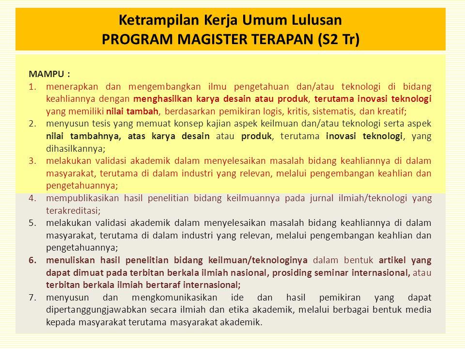 Ketrampilan Kerja Umum Lulusan PROGRAM MAGISTER TERAPAN (S2 Tr)